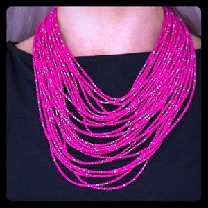 Pink seed beads necklace